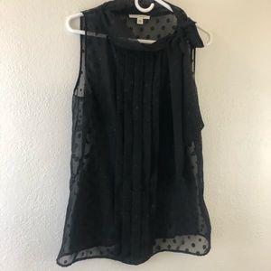Banana Republic black mesh polka dot sleeveless 12
